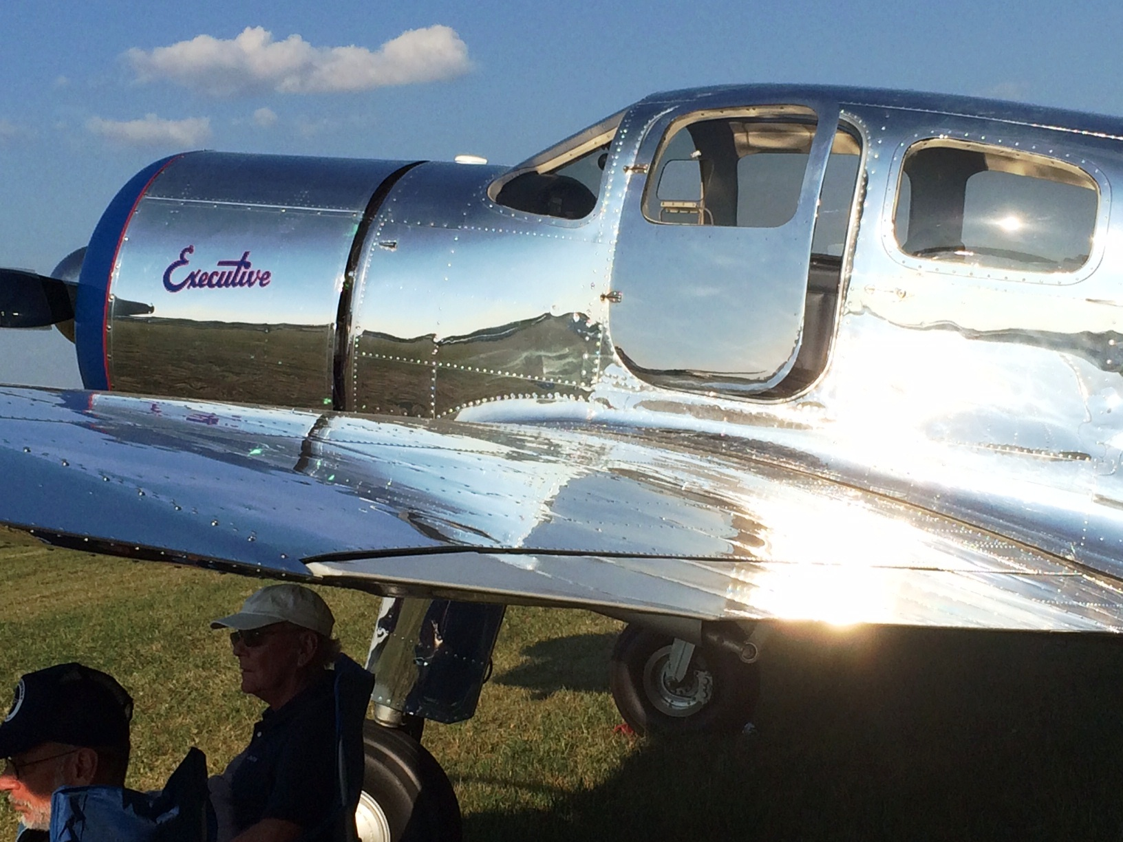 A Spartan Executive gleams in the sun at the Antique Airplane Association fly-in at Blakesburg, Iowa.