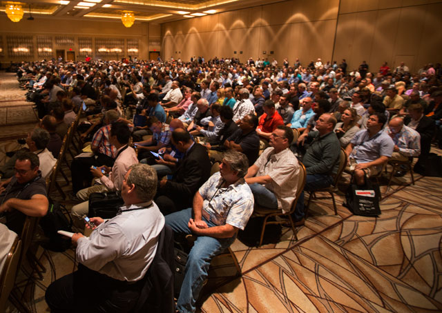 More than 3,000 people had registered for the International Drone Conference and Exposition in Las Vegas by Sept. 9, the opening day, with more arriving. Jim Moore photo.