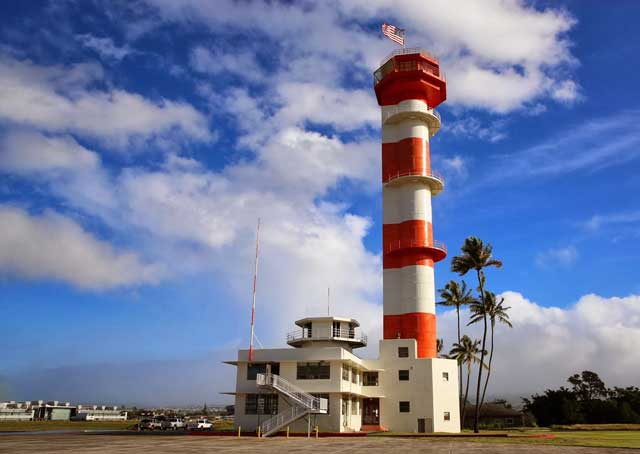 The 150-foot tower originally used to collect weather data was being converted into a control tower as the Japanese attacked. The restoration of this tower, an $8 million project, is well underway. Photo courtesy of the Pacific Aviation Museum Pearl Harbor.