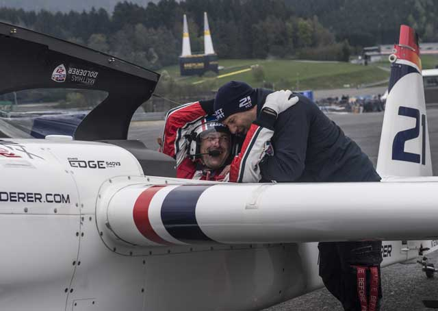 Matthias Dolderer of Germany reacts after winning the finals of the second stage of the Red Bull Air Race World Championship at the Red Bull Ring in Spielberg, Austria on April 24. Photo by Predrag Vuckovic/Red Bull Content Pool.