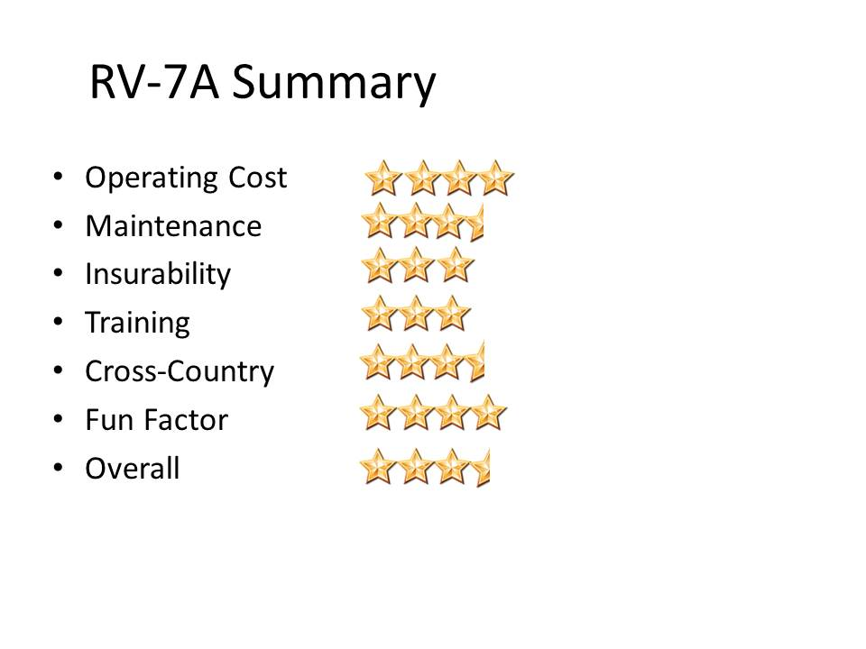RV-7 Summary with Stars