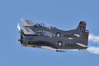 Trojan Phlyers warbirds in formation