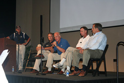 """General aviation association leaders discuss how they are tackling the issue of lead in avgas at EAA AirVenture 2010. Left to right: Experimental Aircraft Association President and Chairman Tom Poberezny, General Aviation Manufacturers Association President and CEO Pete Bunce, National Air Transportation Association President Jim Coyne, National Business Aviation Association President and CEO Ed Bolen, and AOPA President and CEO Craig Fuller."""
