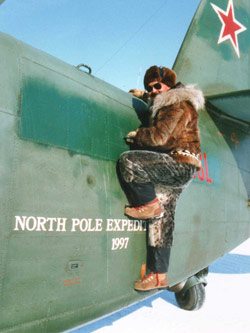 Olson on his first North Pole expedition. The group successfully reached the North Pole on an expedition the following year in an Antonov AN-2.