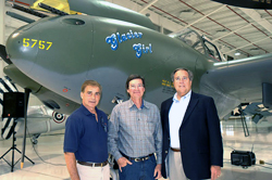 """Glacier Girl,"" a twin-boom fighter, is part of Rod Lewis' (left) warbird collection."