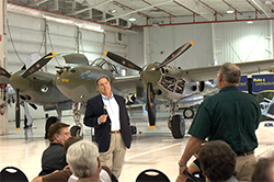 Fuller answered pilots' questions at the San Antonio Pilot Town Hall meeting.