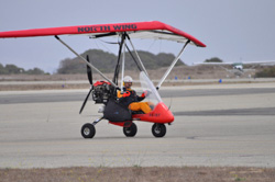 Imre Kabai tested a wing for his weight-shift controlled light sport aircraft before a flight across the United States to benefit the Blind Judo Foundation