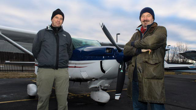 Club member Jochen Spengler, who was instrumental in the club's decision to convert to the diesel engine, and Club President Chris Howitt, before the milestone flight.